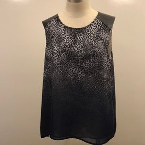 Vince Camuto ombré animal print top leather detail